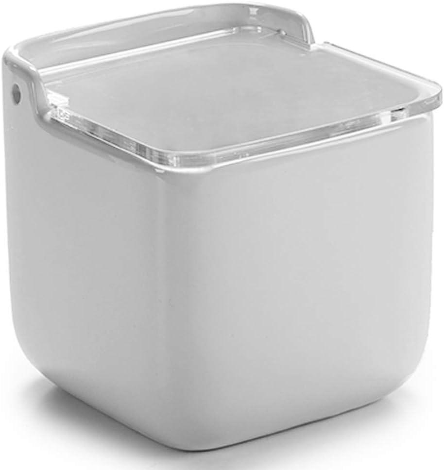 Blanco 11,5 x 11 x 12 cm MGE Salero Cer/ámico con Tapa en Acr/ílico Recipiente para Ali/ños o Especias Azucarero