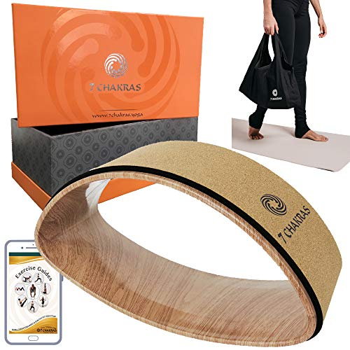 7 Chakras Cork Dharma Yoga Wheel Set for Stretching (Cork, 3 Piece)