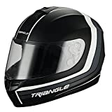 Triangle Full Face Matte Street Bike Motorcycle Helmet [DOT] (Large,Matte Black/White)