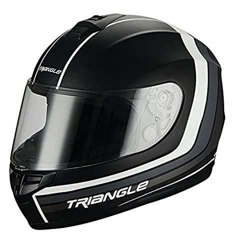 Triangle Full Face Matte Black/White Street Bike Motorcycle Helmet [DOT] (Small) - White Full Face Helmet