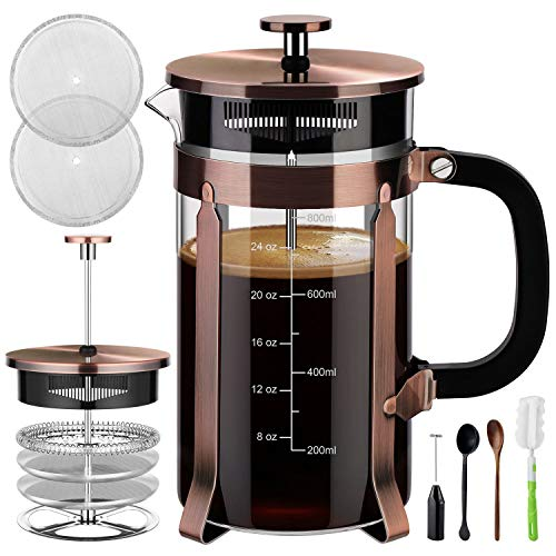 French Press Pyrex - Veken French Press Coffee Maker (8 cups, 34 oz), 304 Stainless Steel Coffee Press with 4 Filter Screens, Durable Easy Clean Heat Resistant Borosilicate Glass - 100% BPA Free