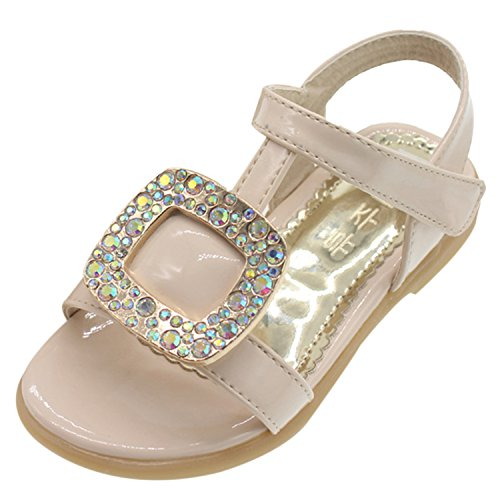 Oasap Girl's Open Toe Rhinestone Velcro Low Heels Sandals, White 29