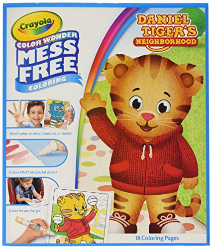 Crayola 75-2392  Color Wonder, Daniel Tiger's Neighborhood, 18 Mess Free Coloring Pages, Gift for Age 3, 4, 5, 6 ()