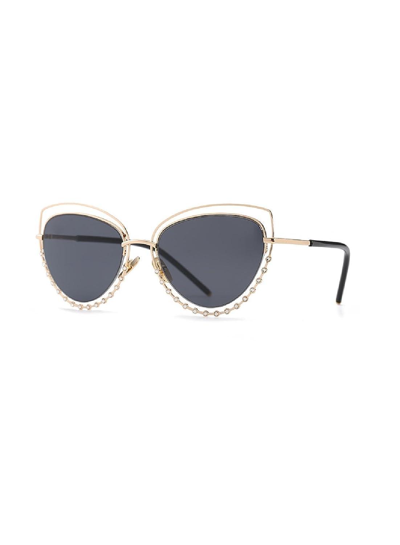 207814c52f8 Amazon.com  Female Fashion Black Aviator Sunglasses Rhinestone Decorated  Frame Safety Glasses Classy Eyewear  Clothing