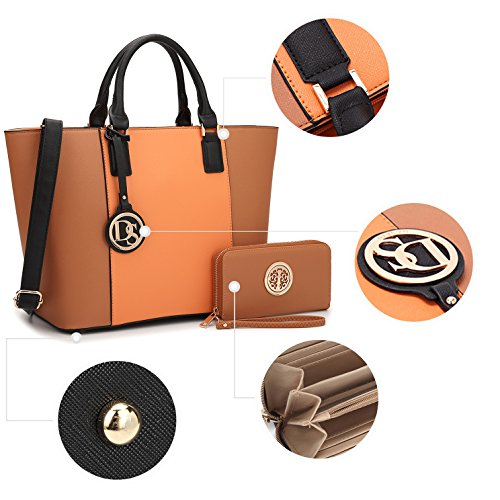 6417 for Brown Gift Handbag Medium Women Lady Multi Tote Teen Satchel Summer Mom Designer Orange Girls Purse Pockets Lightweight CvHaUF