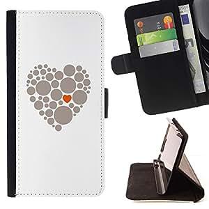 Momo Phone Case / Flip Funda de Cuero Case Cover - Corazón Dot minimalista Naranja Gris - Samsung Galaxy A5 ( A5000 ) 2014 Version