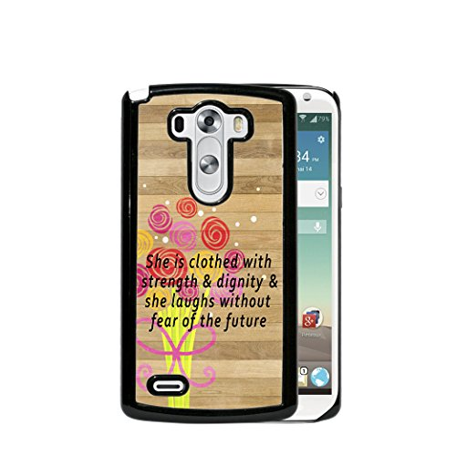 Proverbs 31:25 Religious Bible Verse Brown Wood Flower Bouquet Overlay Ribbon (2015 MODEL) LG G4 Hard Plastic Phone Case