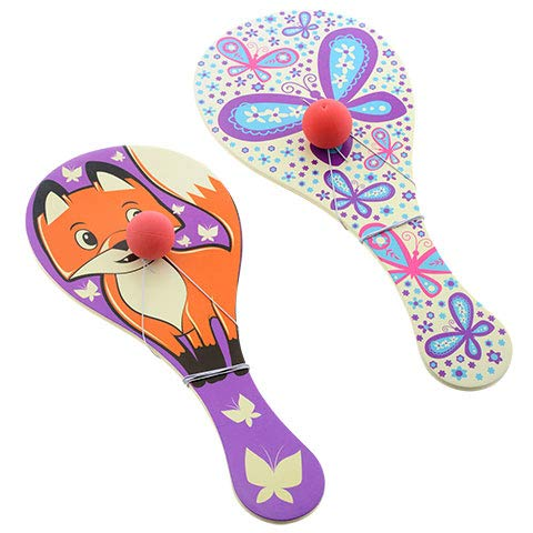 PROSPERITY DEVINE REAL WOOD PADDLE BALL SETS FOX /& BUTTERFLY