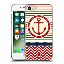 Head Case Designs Red Anchor Nautical Chevron Soft Gel Case for Apple iPhone 5 / 5s / SE