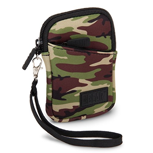 USA Gear Compact Camera Case Bag for Canon PowerShot SX720 HS, SX620 HS, ELPH 190 is / 170 is, Nikon Coolpix S33, AW130 & More - Battery & Memory Storage, Scratch & Weather Resistant - Camo Green (Camouflage Case Camera)
