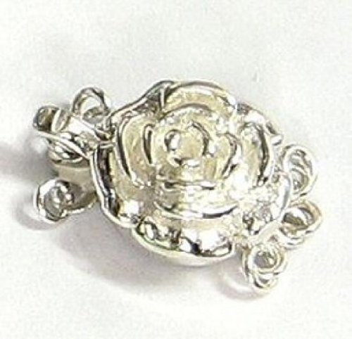 1 Set .925 Sterling Silver Rose Flower 3-Strand Pearl Box Clasp 12mm / Findings/Bright