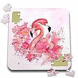 Uta Naumann Watercolor Illustration Animal - Two Beautiful Pink Flamingos Watercolor Anima Illustration - 10x10 Inch Puzzle (pzl_266992_2)