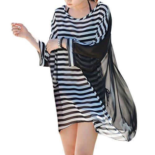 Women's Oversized Stripe Beach Bikini Swimwear Cover-up,Black Stripes