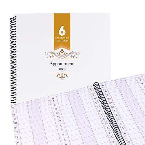 Undated Appointment Book Schedule Reservation - 6 Columns 200 Page Appt Book Organizer with Pen Holder - Hourly Weekly Planner Daily Scheduler for Salon Hairdresser Restaurant Spa Stylist (6 Columns)