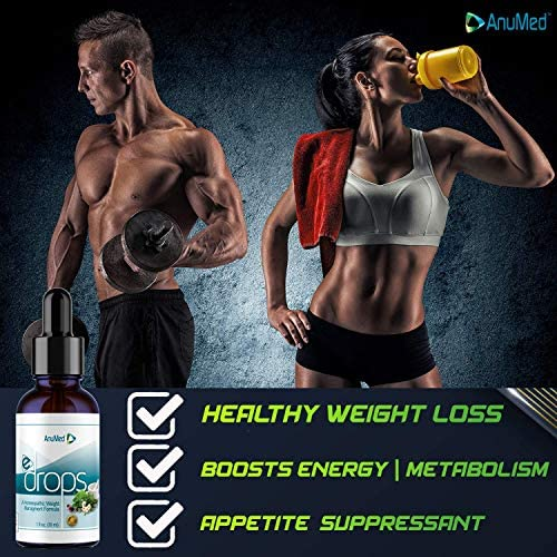 Anumed e-Drops Premium Fast Fat Burner   Metabolism & Energy Booster   Control Hunger   Super Fast Transformation   Healthy Weight Loss Drops   All Natural Vegan & Keto-Friendly for Women & Men (1oz) 5