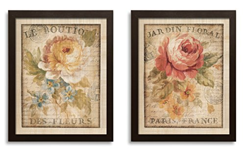 Beautiful Vintage Paris, France Floral Set by Danhui Nai; Two 11x14in Brown Framed Prints; Ready to hang!