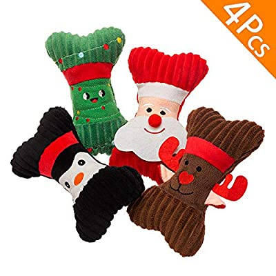 HOMIMP-Christmas-Dog-Squeaky-Toys-4-Pcs-and-5-Pcs-Set-Rope-Toys-and-Cotton-Ball-Dogs-Toys-Set-in-Christmas-Stocking-Corduroy-Durable-Soft-Toys-Set-for-Dogs-Training-Fun