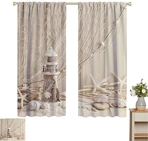 Print Pattern Curtains Beige Wooden Lighthouse Nautical,Marine Fishing Net Sea Stars and Shells Picture,Ecru Ivory Beige,for Room Darkening Panels for Living Room, Bedroom 120 W x 96 L