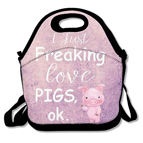 I Just Freaking Love Pigs Portable Neoprene Lunch Box Tote Bag Gift