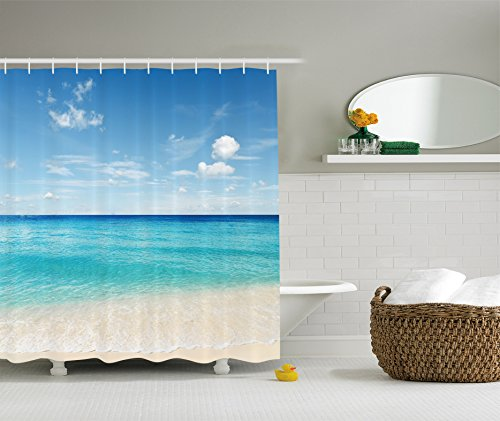 Ambesonne Ocean Decor Collection, Tropical Caribbean Sea Shore Sand Beach and Peaceful Sea Picture, Polyester Fabric Bathroom Shower Curtain Set with Hooks, Aqua Blue White Ivory (Beach Collection Sand)