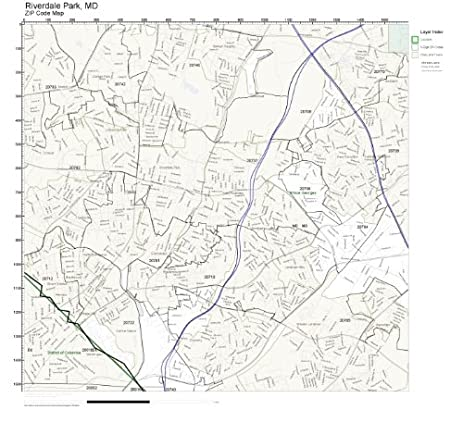 Amazoncom ZIP Code Wall Map of Riverdale Park MD ZIP Code Map