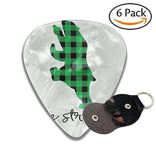 Libra Parts Personalized Plaid Bear Buffalo Jazz Thin Heavy Medium Acoustic Guitar Picks Unisex 6 Packs Cigar Box Guitar