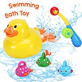 Minnebaby Swimming Bath Toys - Cute Paddling Duck, Fishing Rod, Squirting Floating Toy Set - Colorful Bathtub and Pool Play Time Floating Accessories for Babies and Toddlers - Safe and Non-Toxic