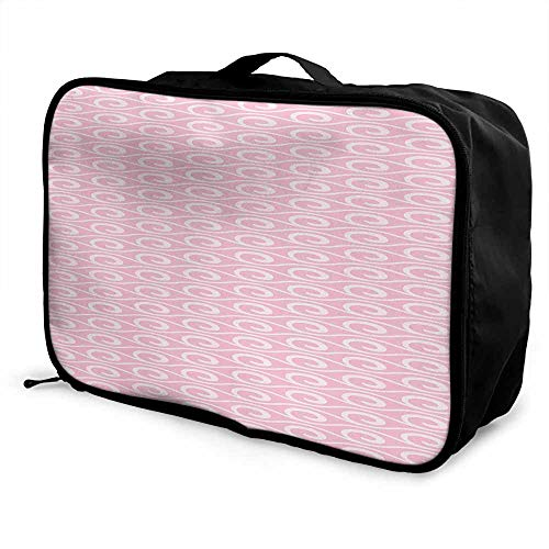 Geometric Luggage trolley bag Classic Swirls Pattern with Soft Color Palette Horizontal Lines Romantic Waves Waterproof Fashion Lightweight Pale Pink