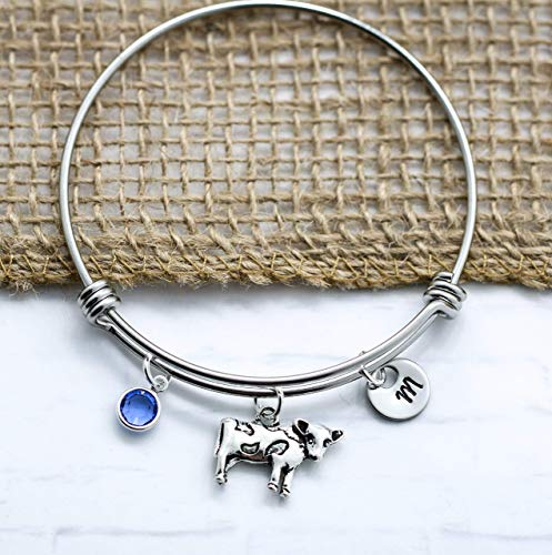 Cow Bracelet for Women - Silver Cow Themed Gift Ideas - Personalized Birthstone & Initial - Fast -