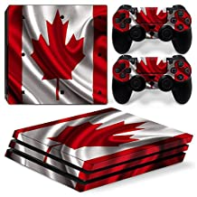 Ps4 PRO Playstation 4 Console Skin Decal Sticker Canada Flag + 2 Controller Skins Set (PRO Only)