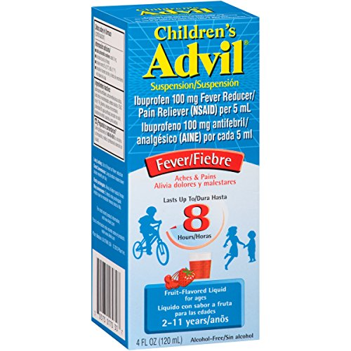 Children's Advil Suspension (4 fl. oz, Fruit-Flavored), 100mg Ibuprofen Fever Reducer/Pain Reliever, Liquid Pain Medicine, Ages 2 - 11