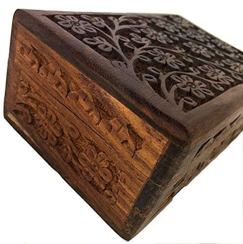 """New Age Imports, Inc. Gift Ideas~ Floral Carved Handmade Wooden Box 4 inches by 6 inches~Ideal for Storing Jewelry, Coins, Tartot Cards, Small Treasures, URN Box & etc (Floral Carved 4""""x6"""")"""