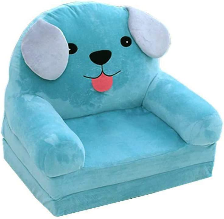 Fivtyily Cute Cartoon Shape Kids Sofa Chair Soft Plush Toddler Armchair Toddler Furniture for Living Room Bedroom (Light Blue)