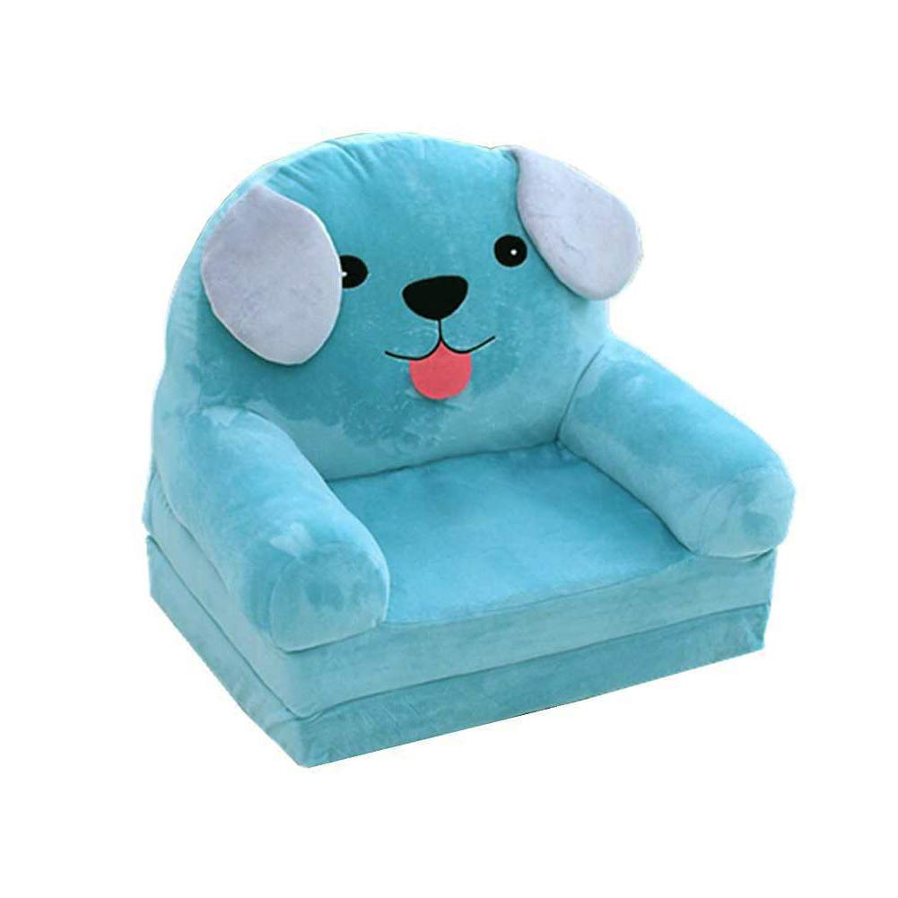 Frjjthchy Lovely Animal Shape Toddler Sofa Detachable Plush Kids Armchair Children Furniture TV Chair (Blue)