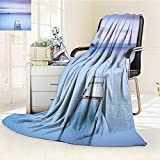 YOYI-HOME Duplex Printed Blanket Comfort Warmth Softon Bolsena Lake Italy Long Exposure Photo European Nature View Baby Blue Lilac Anti-Static,2 Ply Thick,Hypoallergenic/W59 x H86.5
