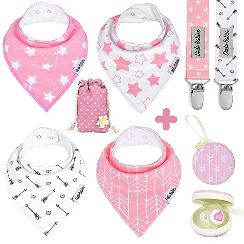 - Baby Bandana Drool Bibs by Dodo Babies For Girls + 2 Pacifier Clips + Pacifier Case in a Gift Bag, Pack of 4 Premium Quality, Excellent Baby Shower / Registry Gift