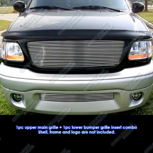 APS Compatible with 01-03 Ford F-150 Harley Davidson Billet Grille Grill Combo Insert N19-A13978F