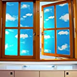 ASIBG Home Blue Sky White Clouds Glass Film Bathroom Window Stickers Office Light Opaque Sunscreen Stickers,Wide90Cm × Length100Cm