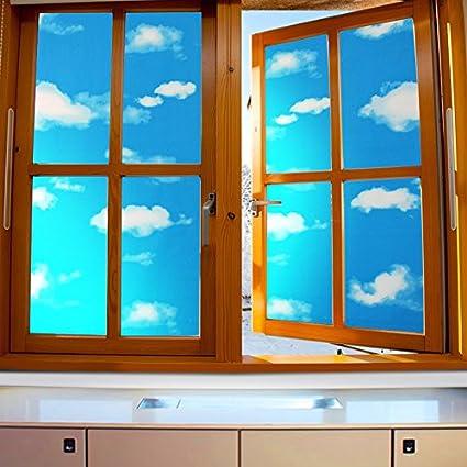d1fc6ca6fe9 Amazon.com: ASIBG Home Blue Sky White Clouds Glass Film Bathroom Window  Stickers Office Light Opaque Sunscreen Stickers,Wide90Cm × Length100Cm: Home  & ...