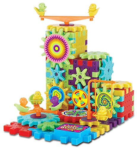 (81 Piece Funny Bricks Gear Building Toy Set - Interlocking Learning Blocks - Motorized Spinning Gears)
