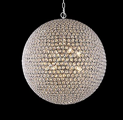8 Light Round Ball Crystal Minimalist Pendant Light in Chrome Finish with Clear Crystal