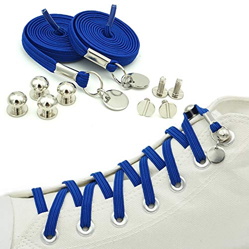 ERCRYSTO No Tie Shoelaces, Elastic Flat Laces with Metal Tips, Innovative & Fashion Design, Easy to Use, Time-Saving and Eliminate Loose Shoelace Accidents, Convenience for Kids and Adults. (Blue)