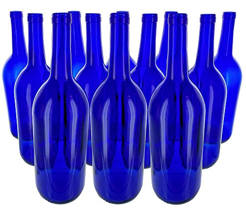 12 - Cobalt Blue Bordeaux Flat Bottom 1.5 Ltr. Glass Bottles for Bottle Trees, Crafting, Parties,Wedding Center Piece , Decor , Home Brew , Beer, Wine