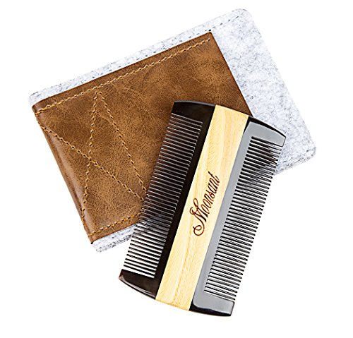 Beard Comb-Black Buffalo Horn&Green Sandal Wood Comb-Cool Pocket Comb for Men's Hair Beard Mustache and Sideburns - Perfect for Balm and Oils (Brown)