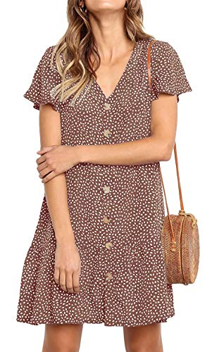 PinUp Angel Brown Polka Dot V Neck Button Down Ruffle Shift Loose Mini Short T-Shirt Dress