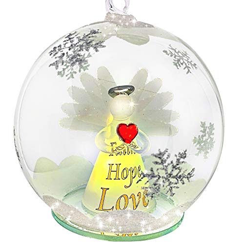 BANBERRY DESIGNS Faith Hope Love Angel Ornament - LED Light Up Christmas Ball Ornament with an LED Angel Inside - White Glittery Hand-Painted Snowflakes
