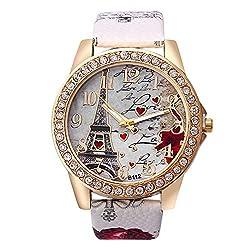 Best Deal Quartz Watch Women Fashion Tower Pattern Diamond Dial Watches Men Faux Leather Watch Women's Dress Clock Montre Reloj