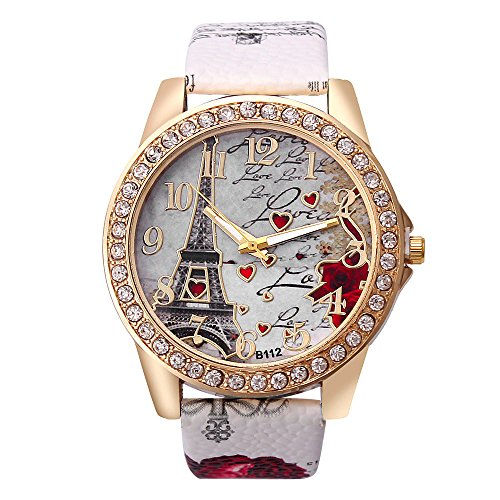 Best Deal Quartz Watch Women Fashion Tower Pattern Diamond Dial Watches Men Faux Leather Watch Women's Dress Clock Montre - Oakley Collectors