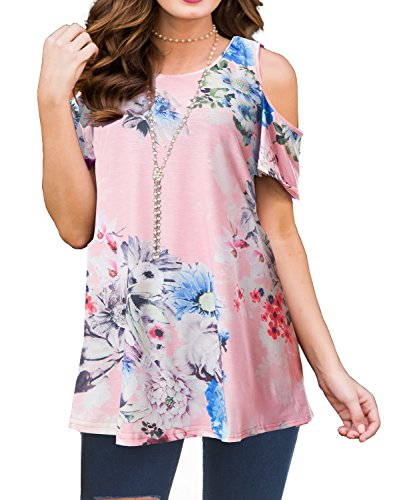(PrinStory Women's Short Sleeve Casual Cold Shoulder Tunic Tops Loose Blouse Shirts (Small, AB Floral Print Pink))