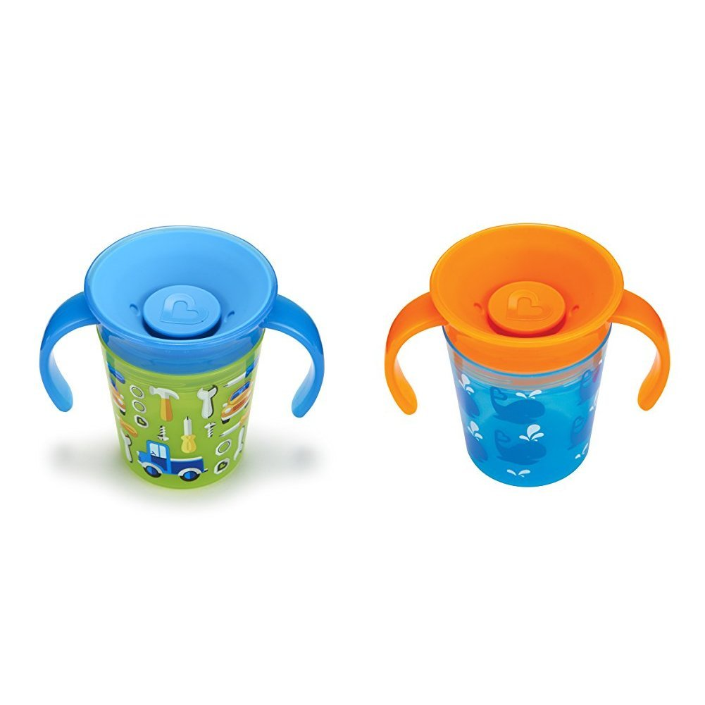 Munchkin Miracle 360 Trainer Cup, 177 ml/207 ml, Blue/Whale, Pack of 2